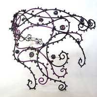 Purple and black vine half mask, handmade, masquerade
