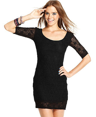 Black Dress  Sleeves on Juniors Dress  Short Sleeve Lace   Juniors Dresses   Macy S On Wanelo