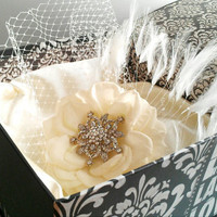 Birdcage wedding veil- Embellished flower clip
