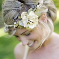 woodland natural vine bridal crown ivory ribbons no by whichgoose
