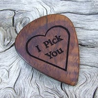 Hawaiian Koa Guitar Pick - Handmade Laser Engraved with a 2-sided Design