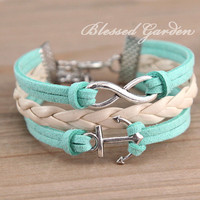 cute mint green bracelet, mint green leather bracelet , infinity bracelet,anchor bracelet, bridesmaid bracelet, blessed gift, christmas gift