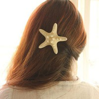 Natural Starfish Hair Clip Hair Pin. Beach Style.Mermaids Accessories
