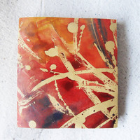 Blank art journal with handpainted original cover art and button twine wrap.  Christmas gifts small pocket journal or sketch book