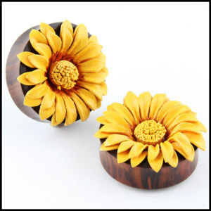 Double Flare Organic Sono Wood Leather SunFlower ear Plugs Gauges | eBay