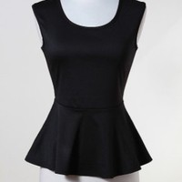SOLID PONTE PEPLUM SLEEVELESS TOP W/OPEN BACK — Tanny's Couture LLC