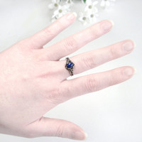 Sterling Lapis Ring: Sterling Silver and Lapis Lazuli - victorian, antique, vintage, butterfly, size 7, Katherine&#x27;s Ring, Vampire Diaries