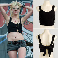 Black Gossip Girl Punk Rock Bow Back Crop Bustier Corset Shirt Tank Top Blouse M