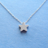 Cute Dainty, Little Star Charm, Sterling Silver Pendant and Chain, Necklace
