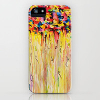 OPPOSITES LOVE Raining Sunshine - Bold Bright Sunny Colorful Rain Storm Abstract Acrylic Painting iPhone Case by EbiEmporium | Society6