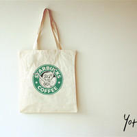 High Quality Cotton Canvas Shopping Bag -Disney The Little Mermaid Starbucks Shopping Bag