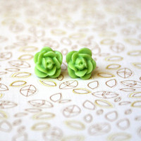 Light Green Rose Floral Cabochon Earrings