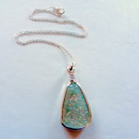 Opal Colored Glass Wrapped Teardrop Necklace