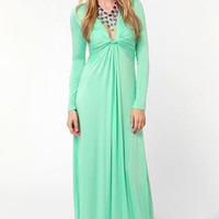 With a Twist Mint Green Maxi Dress