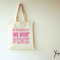 High Quality Cotton Canvas Shopping Bag - On Wednesdays We Wear Pink