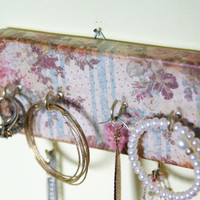 Key Holder / Jewelry Organizer, Shabby Chic, Rustic, Hooks, Antique Rose