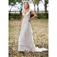 Outdoor Wedding Dress A-line V-Neck Cap Sleeves with Lace Court Train - Cheap Wedding Dresses