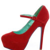 Promise Goodness Wine Red Mary Jane Power Platform Pumps