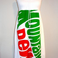 MOUNTAIN DEW Logo Pop Art Recycle Print Strapless Dress USA
