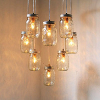 Heart Shaped Mason Jar Chandelier Light - Romantic Wedding Swag Lighting Fixture - Rustic Industrial BootsNGus Lamp Design