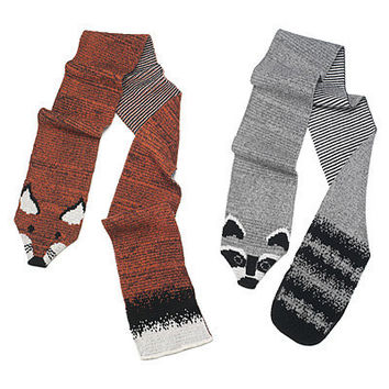 "RECYCLED COTTON ANIMAL ""STOLES""- RACCOON AND FOX"