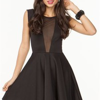 A'GACI Mesh Panel Fit N Flare Dress - DRESSES