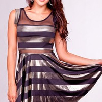 Black and Gold Stripe Dress with Mesh Cutout Detail
