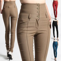 MOGAN High Waist DRESS PANTS Stylish Buttoned Stretch Skinny Trousers Jeggings