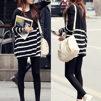 Korean Style Women Stripe Knit Sweater Long Sleeve Loose Jumper Knitwear Top new