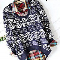 fashion printing Lady Sweater Round Neck Short before long after Knit Pullover