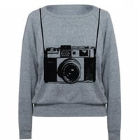 Womens Sweatshirt Vintage Camera Tri-Blend Raglan Pullover - American Apparel - S M and L (8 Color Options)