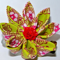 Lime green and red/pink floral pattern cotton fabric kanzashi hair flower clip