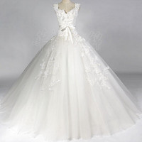 Vintage Wedding Dress A LINE Bridal Gown Flower Dress