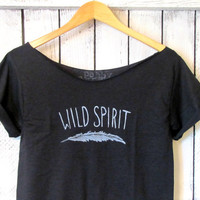 FREE SHIPPING- Hipster & Boho Shirt, Wild Spirit Off Shoulder Shirt, Feather Shirt (women, teen girl)