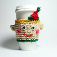 Elf coffee cozy holiday cup sleeve
