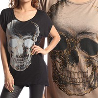 MOGAN Studded SKULL KNIT TOP Printed Dolman Sleeve Hi Low Hem Loose Fit T Shirt