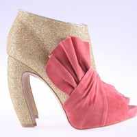 Women's peep toe glitter shoes Heels with Bow by xixi1404 on Sense of Fashion