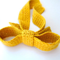 Yellow mustard bow tie / Crochet woman necktie / Big Bow fashion accessory for woman or kid europeanstreetteam