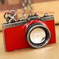camera necklace, antique silver camera necklace, red camera, vintage camera, SALE