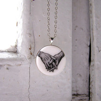"Necklace ""Hands"" small, black&white, miniature, ""silver"" tone accessories"