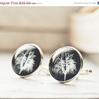 ON SALE Winter tree men cufflinks - Negative photo cuff links - Free Worldwide Shipping - Gift for HIM under 25  Usd