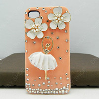 Fashion case Pearl flowers and Ballet girl    iphone 5 case iphone 4 case iphone 4s case iphone 3 case