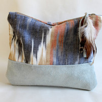 Ikat and suede clutch, boho, tribal