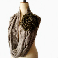Cabled Cowl Infinity Loop Circle Scarf with Huge Flower Pin Brooch