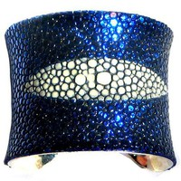 Sapphire Blue Metallic Stingray Leather Cuff Bracelet by UNEARTHED