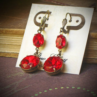 Red Rhinestone Dangle Earrings, Ruby, Poppy, Holiday, Berry
