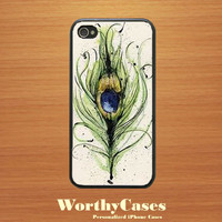 iPhone 4 case, iPhone 4s case, case for iPhone 4 mobile case handmade :  Peacock Feather iPhone 4 Case
