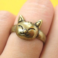 SALE - Small Kitty Cat Animal Ring in Bronze Sizes 5 to 6.5 ONLY