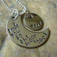 I Love You To The Moon And Back Necklace. Guess How Much I Love You. Silver. Rabbit Story.