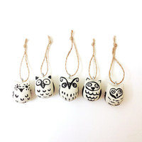 Owl Christmas ornaments - set of 5 - black and white - cute - woodland folk - neutrals - autumn - birds